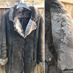 Vtg BILL BLASS Suede Shearling Fur Coat